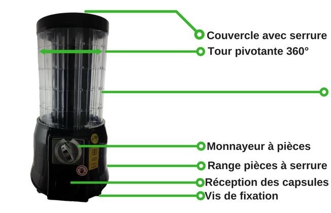 comment est fait un distributeur automatique de capsule dosette café pièce