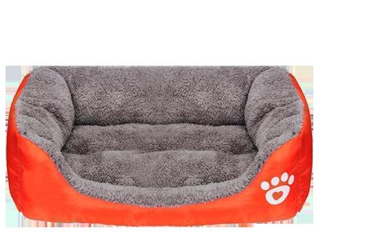 dog orange square bed