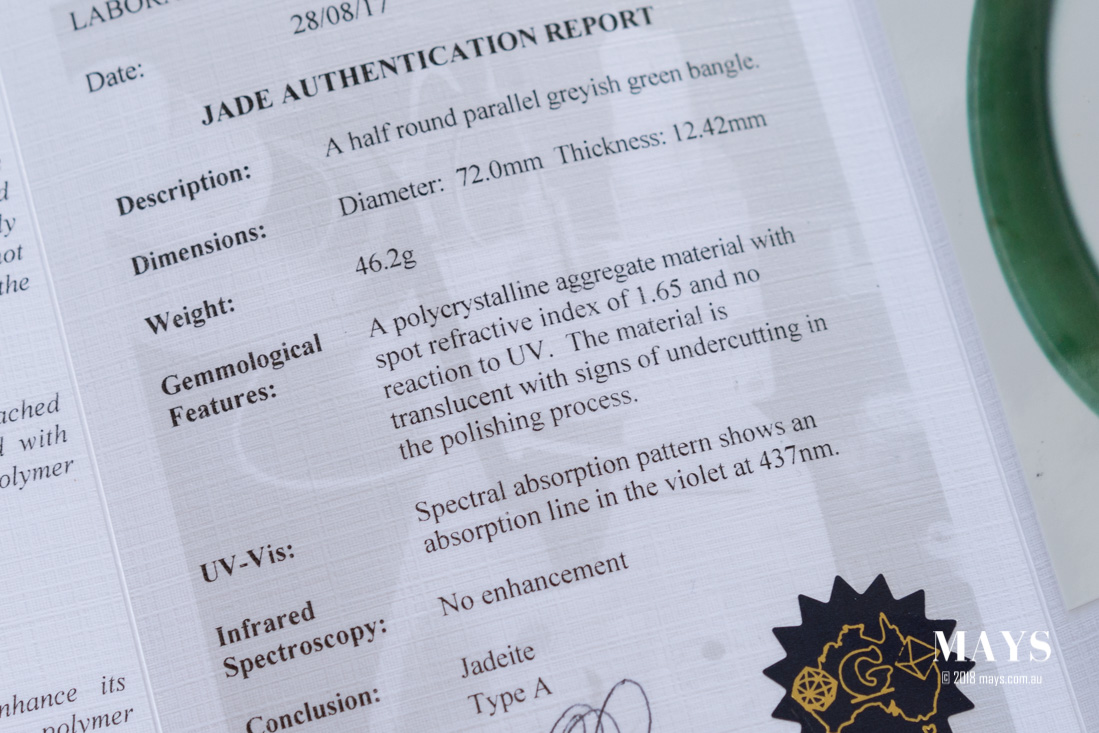 Laboratory report outlining the findings on a untreated natural jade bangle