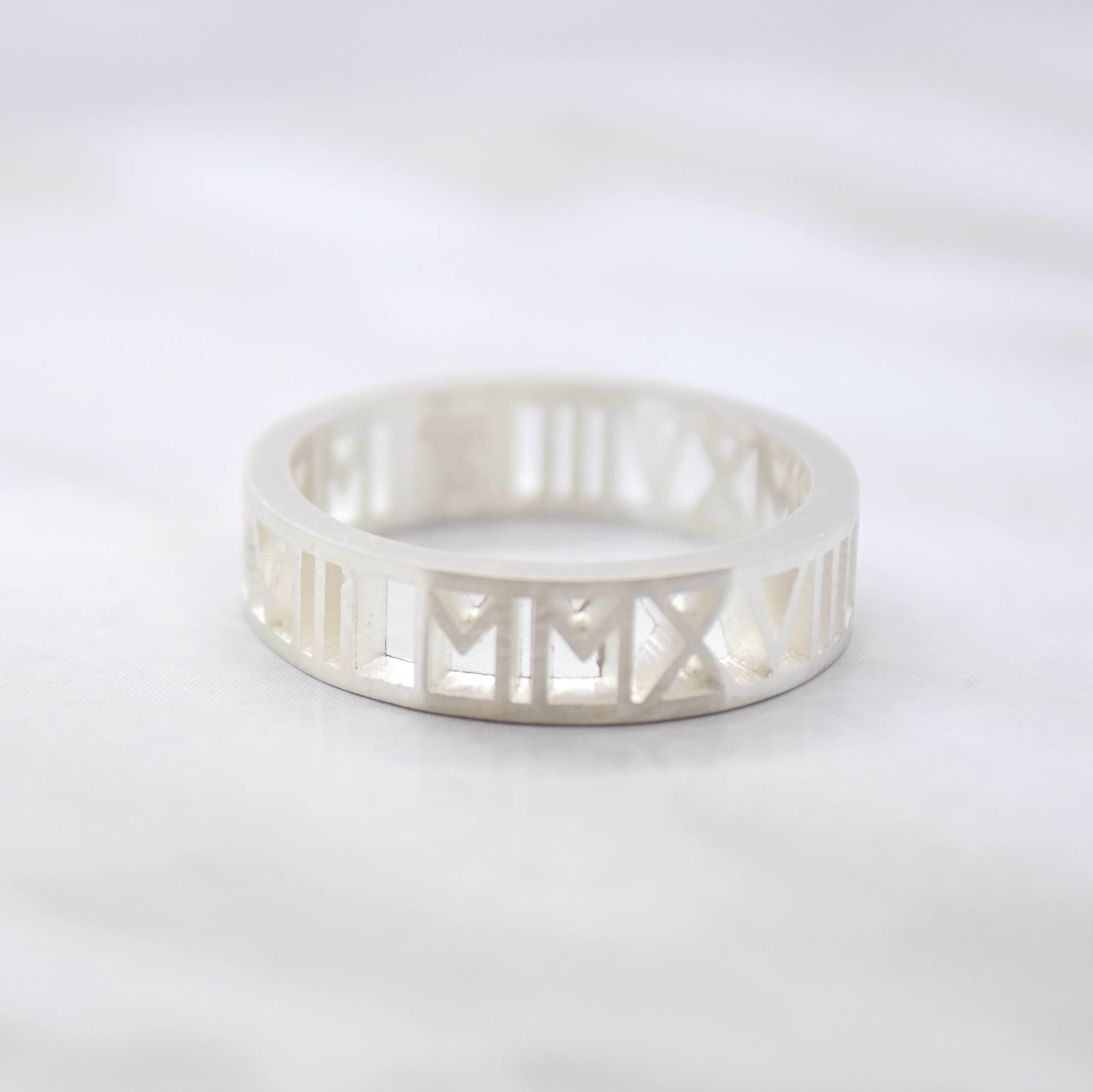 custom numeral number silver ring