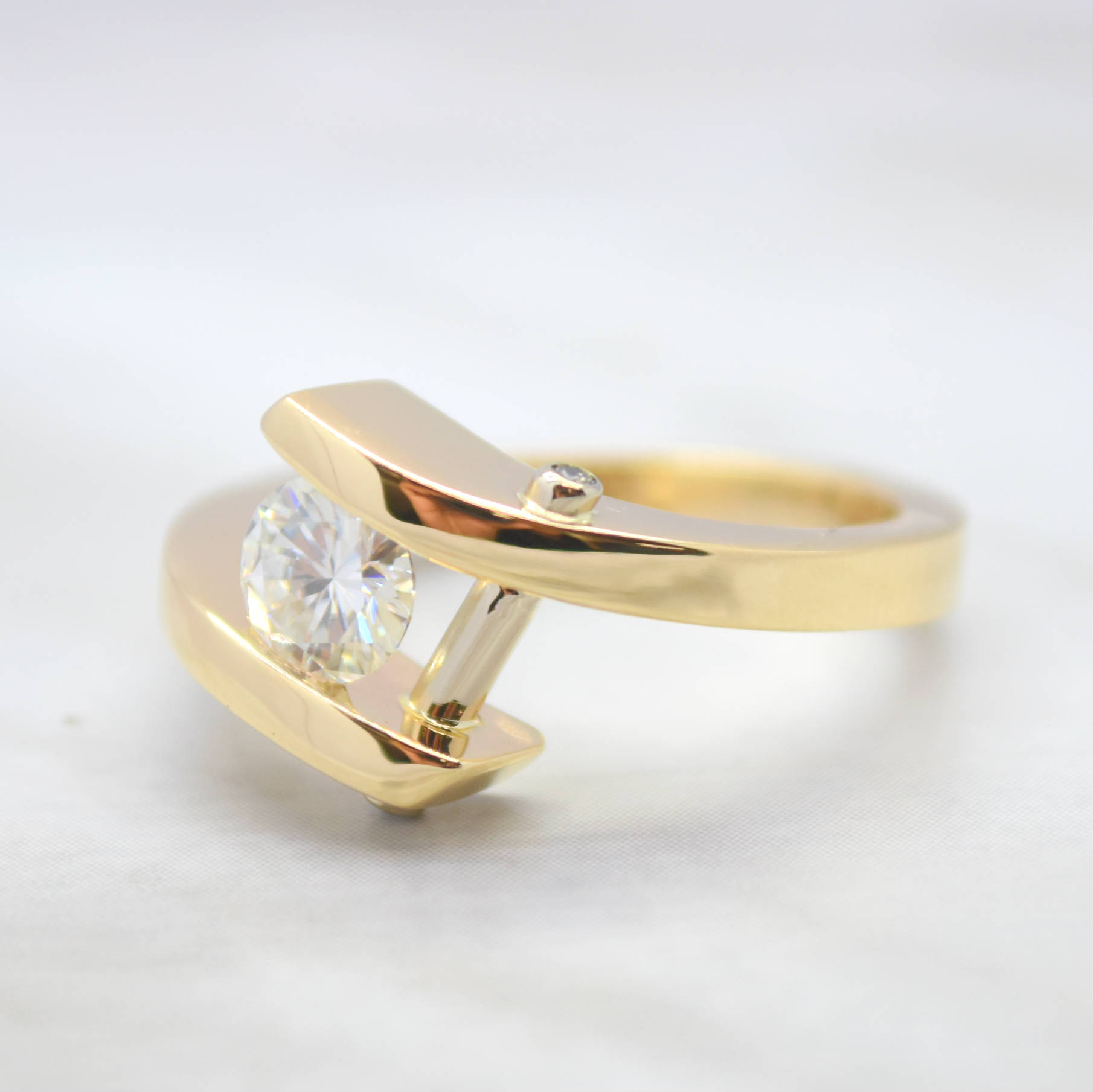moissanite yellow bypass ring