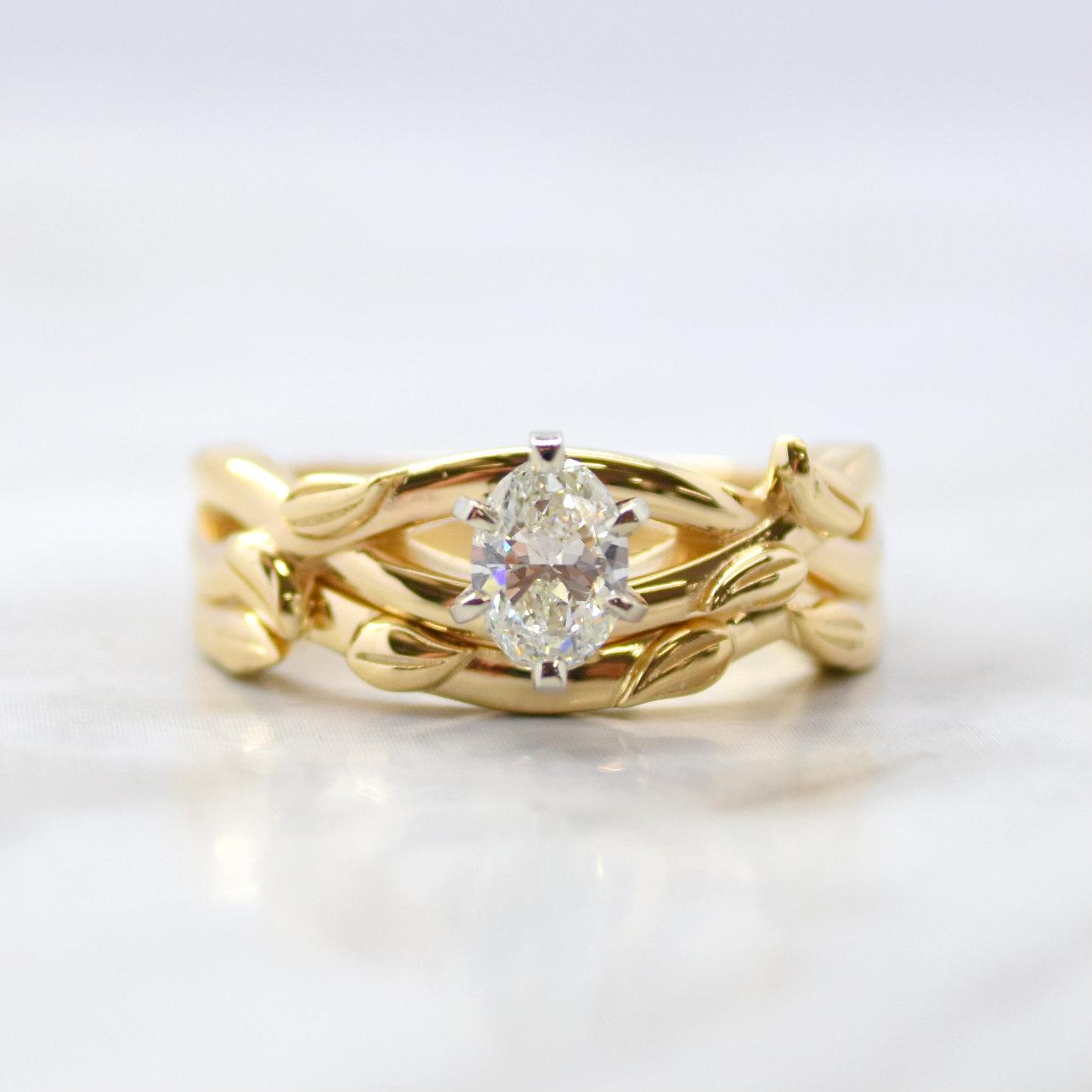 custom diamond bridal set with vines
