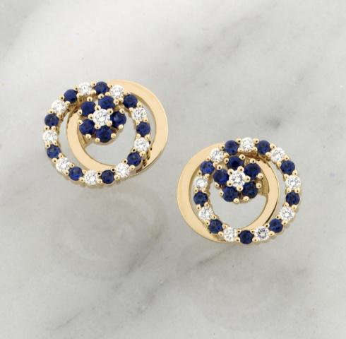 Teufel 14k Yellow Gold 0.28ct Diamond 0.60ct Sapphire Spinner Earrings