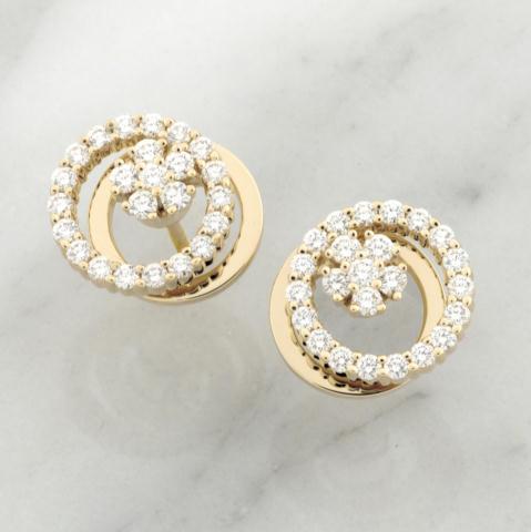 Teufel 14k Yellow Gold 1.34ct Diamond Spinner Earrings