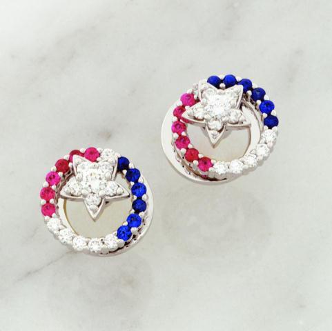 14k White Gold 0.44ct Diamond 0.20ct Sapphire 0.20ct Ruby Spinner Earrings