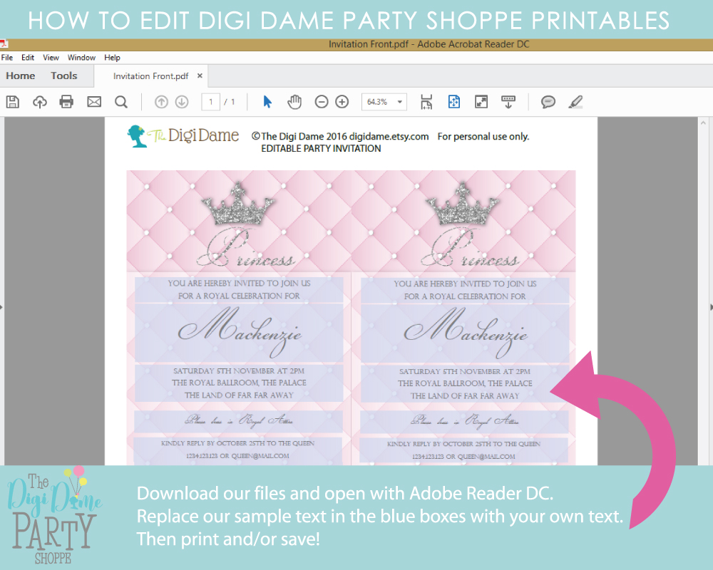 how to edit party printables