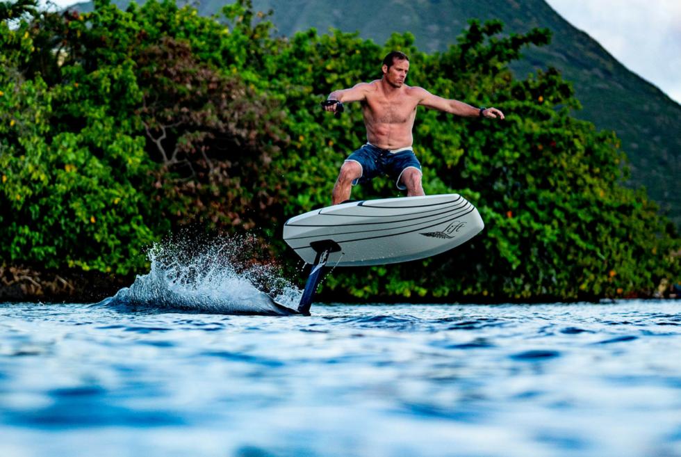 Man riding electic hydrofoil