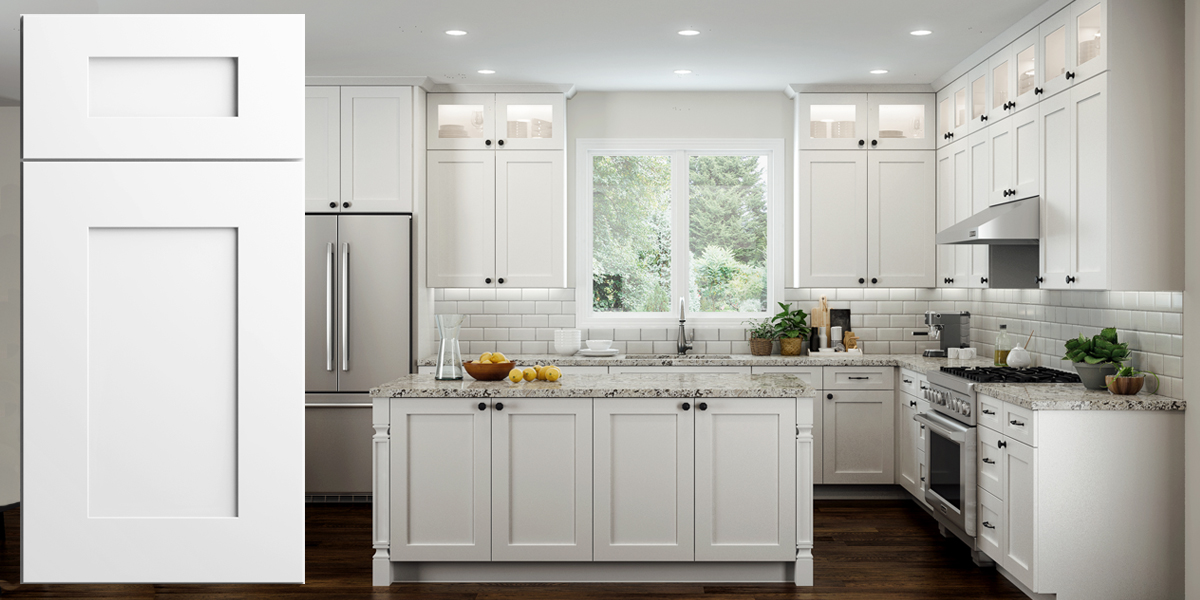 Elegant White Shaker Assembled Kitchen Cabinets Rta Wood Cabinets