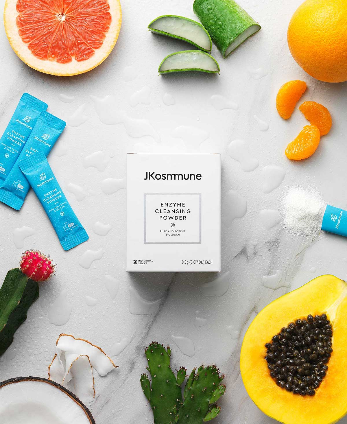 Kosmetic Immunity All natural and clean enzyme cleansing powder with beta glucan, perfect for dry, tight and sensitive skin types
