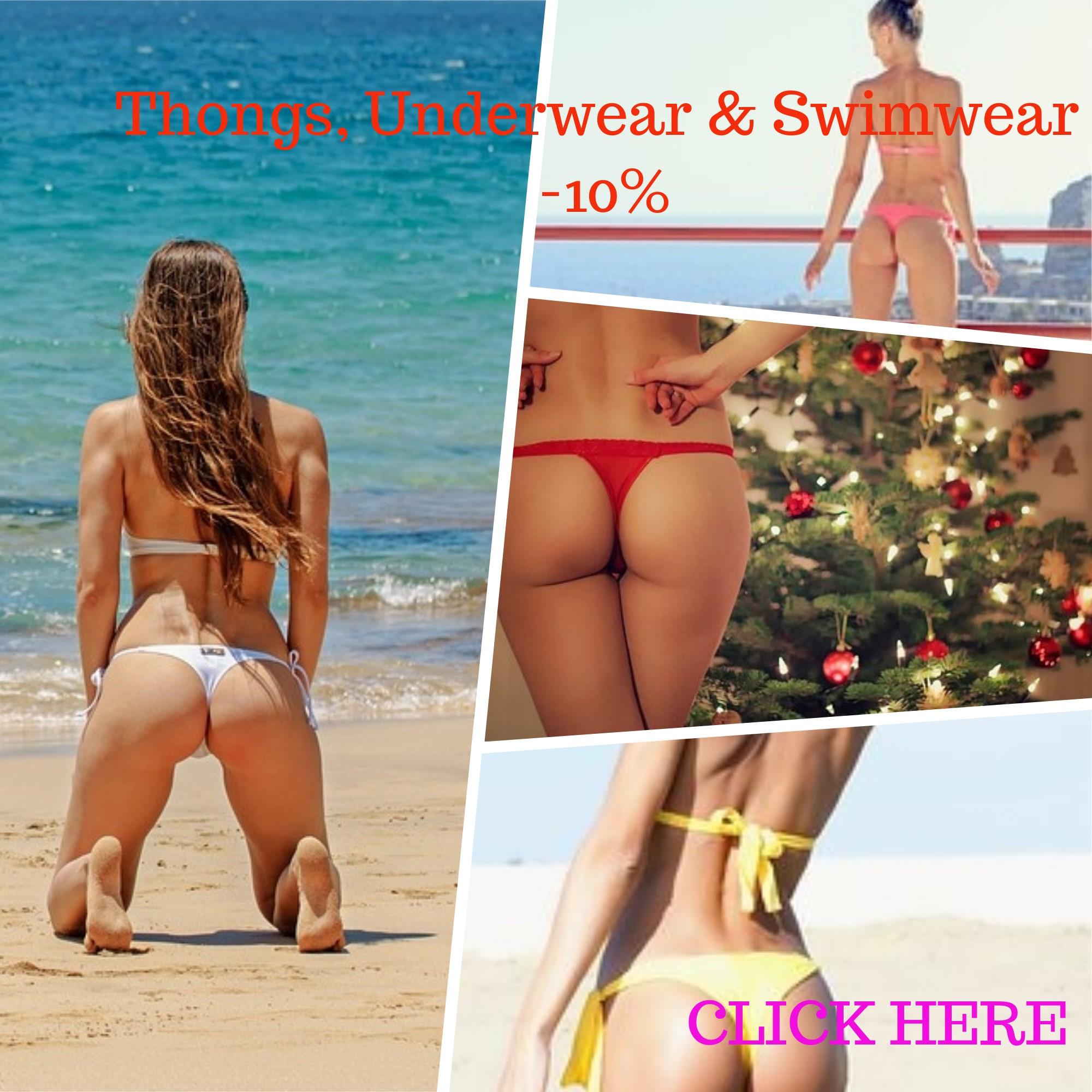 Thongs, swimwear on sale