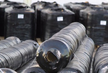 Rolls of black nonwoven geotextile fabric