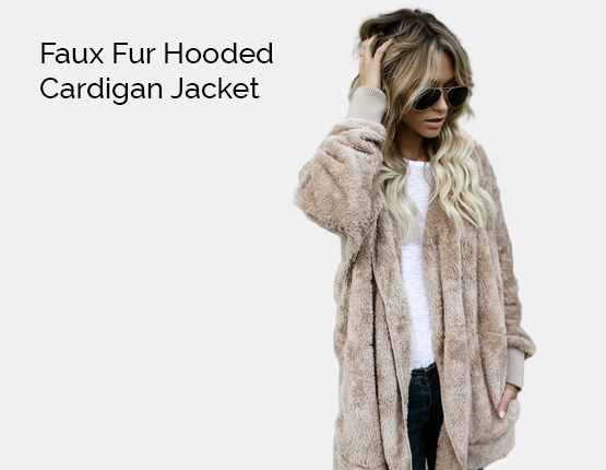 faux fur hooded jacket hooded cardigan, maternity jacket