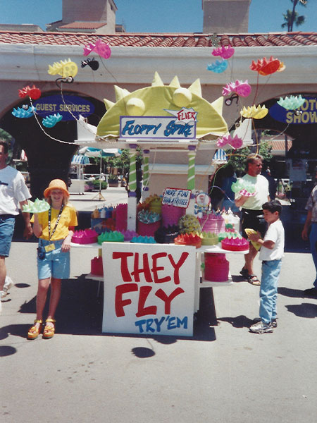 Old picture of Floppy Spike flying disc inventor Scotty Ziegler's booth at Del Mar fairgrounds.