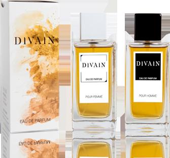 Caja y frascos de perfumes de equivalencia DIVAIN, hombre y mujer.