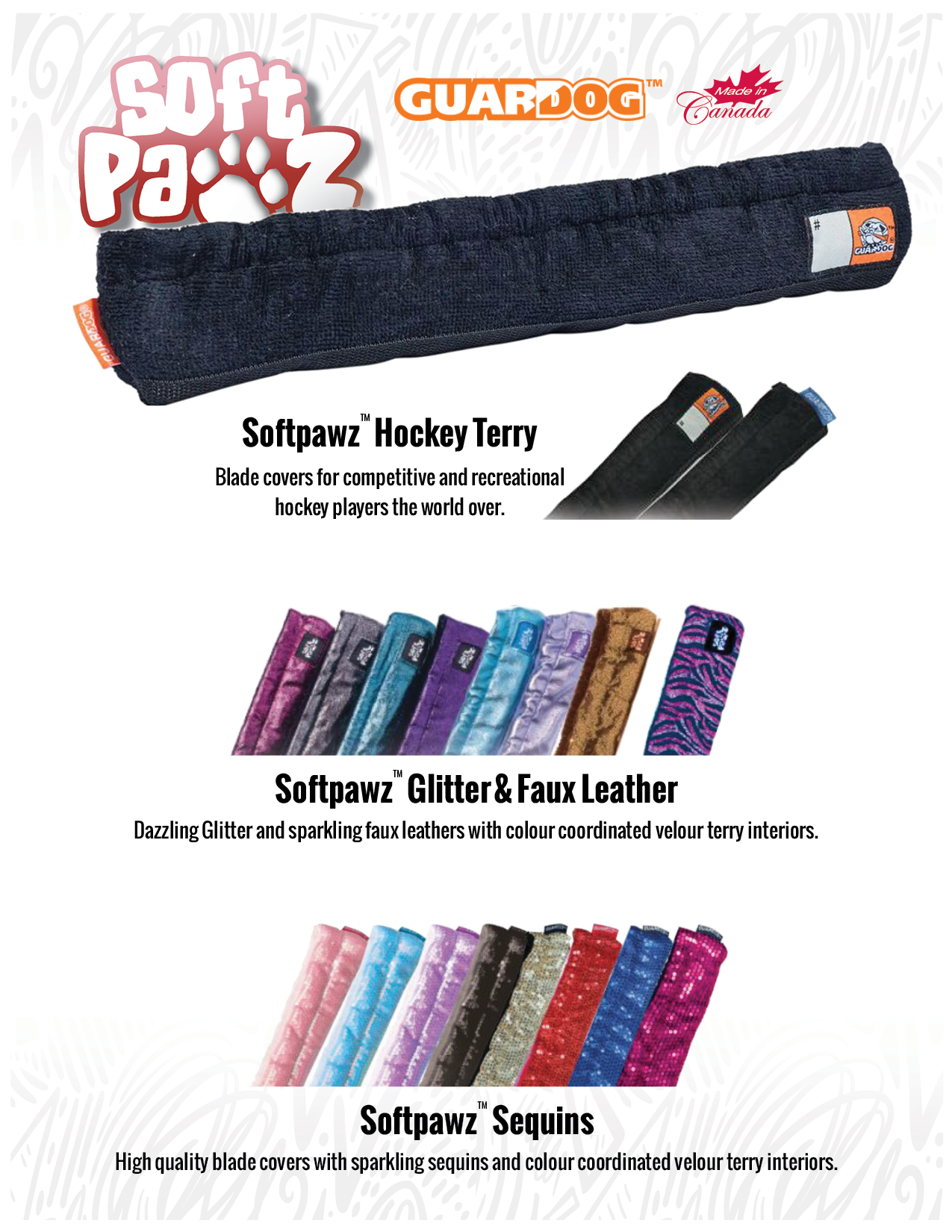 Guardog Soft Pawz hockey terry skate guard, SoftPawz Glitter & Faux Leather skate guard, SoftPawz Sequins