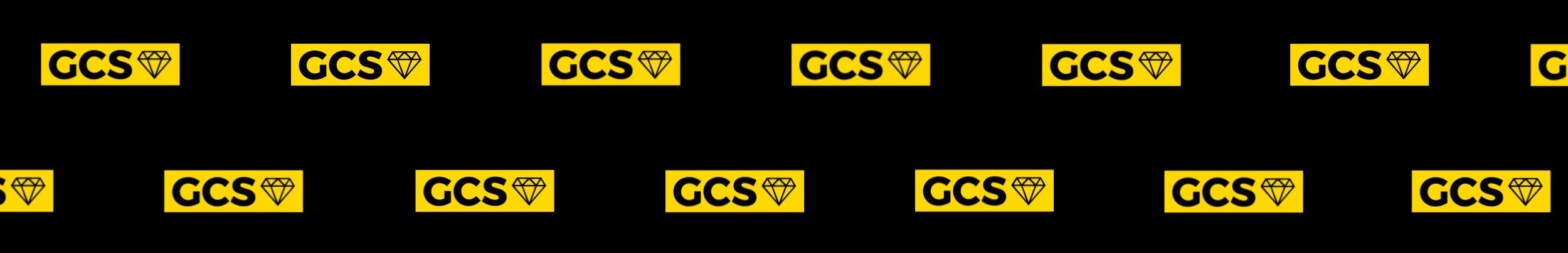 GCS gold colour diamond box logo