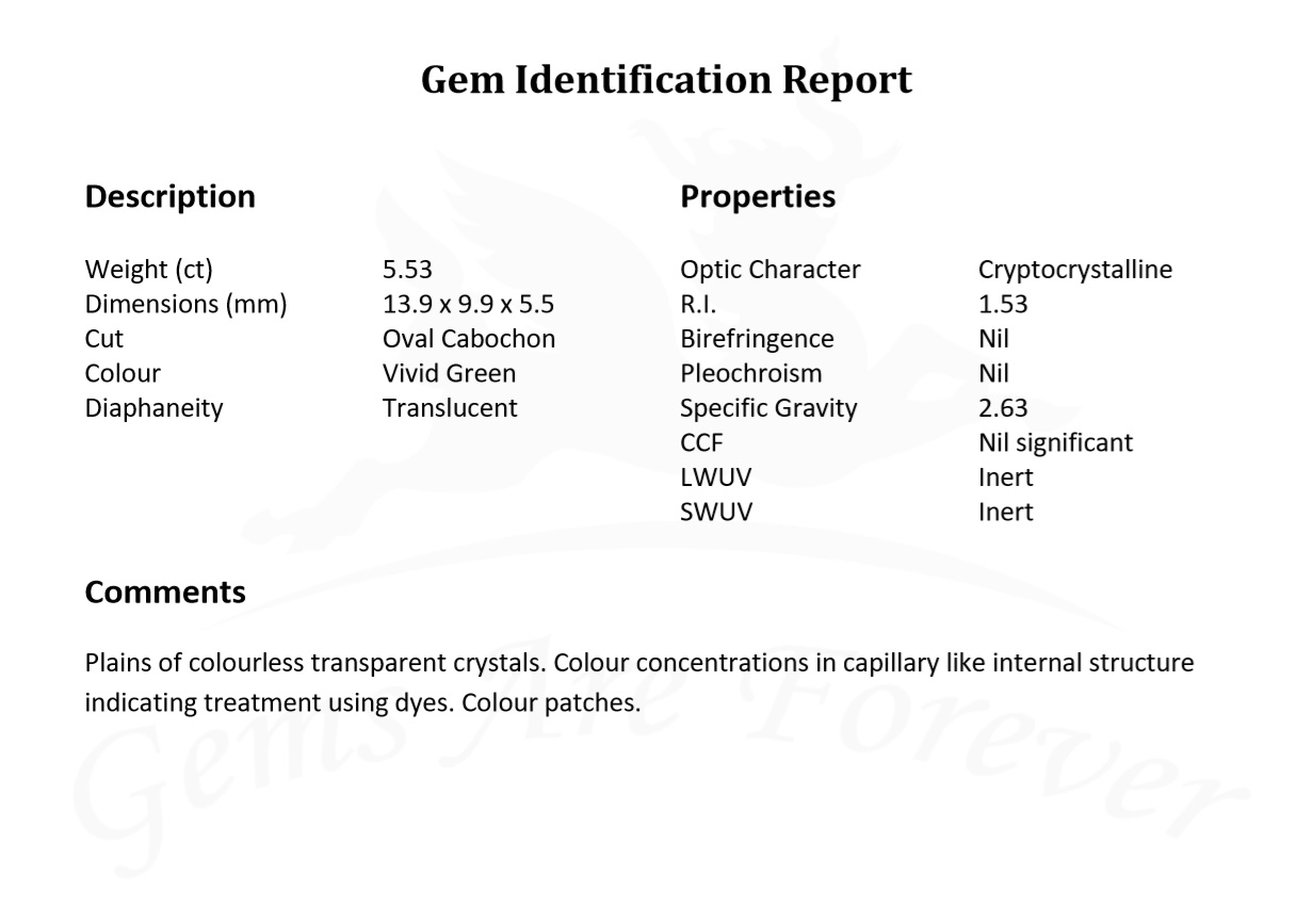 a lab report showing the properties a gemstone