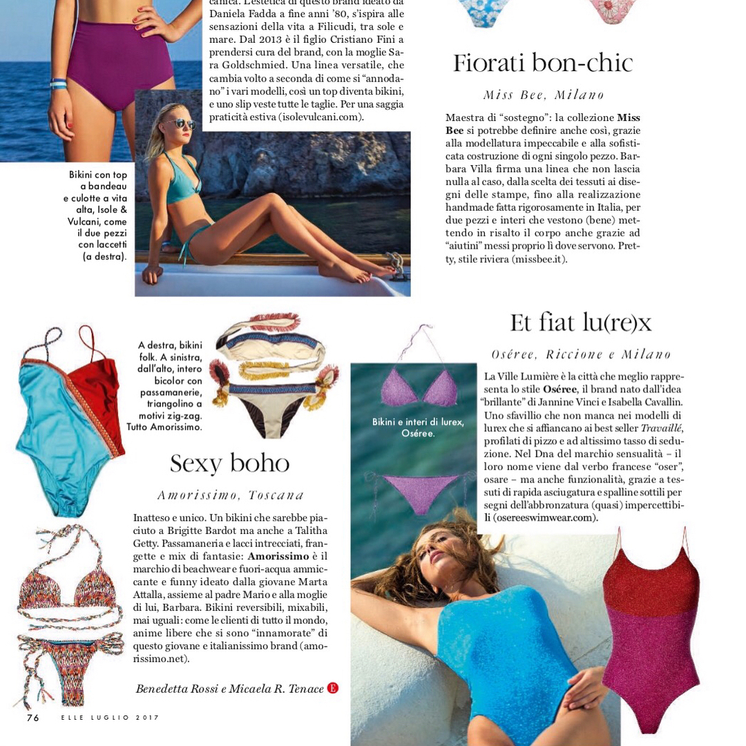 Elle Italia July features Oseree Swimwear
