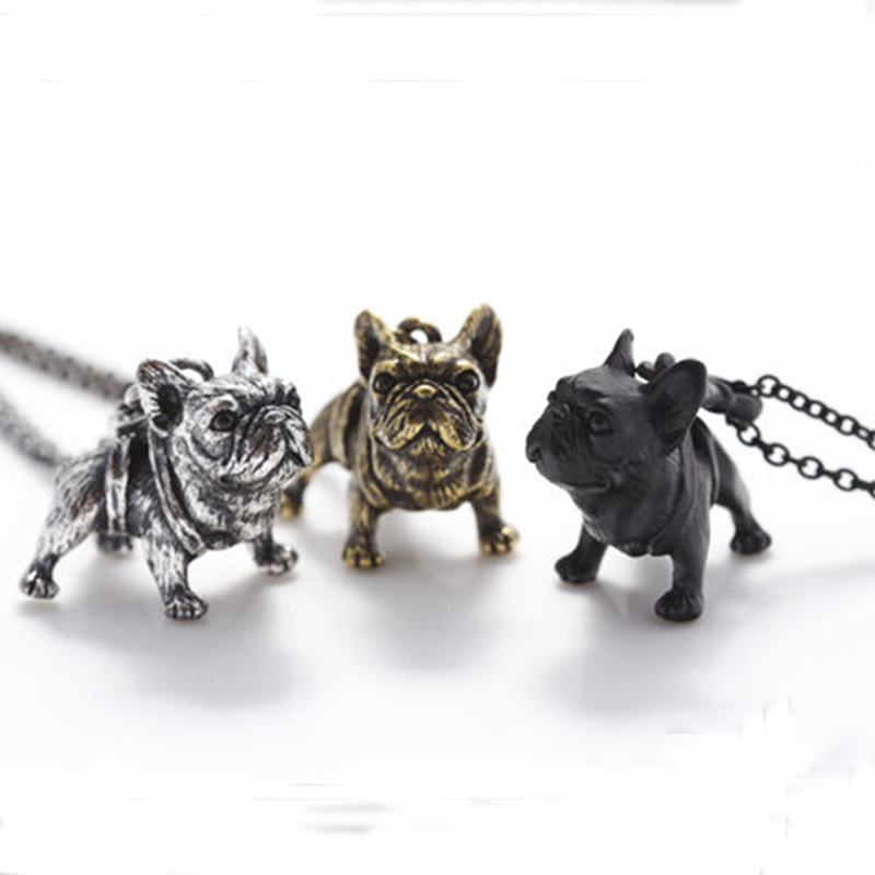 threeantiquelongchainfrenchbulldognecklaces