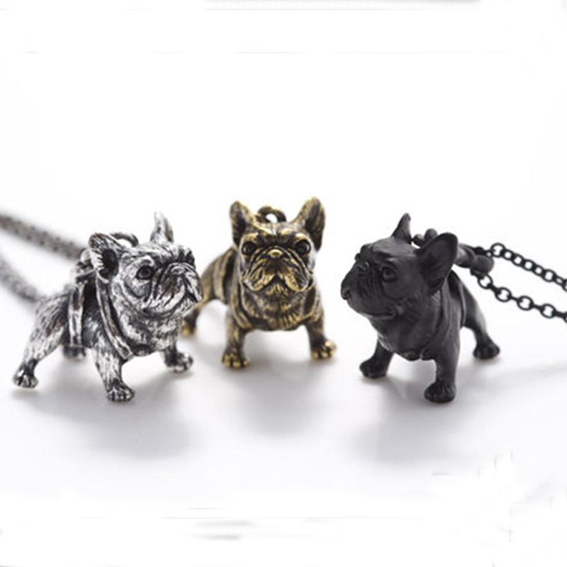 threeantiquelongchainfrenchbulldognecklaces