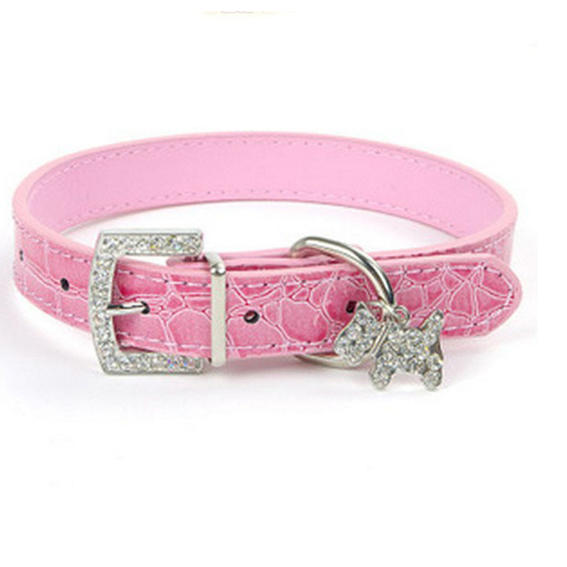 pinkcroctexturerhinestonecharmdogcollar