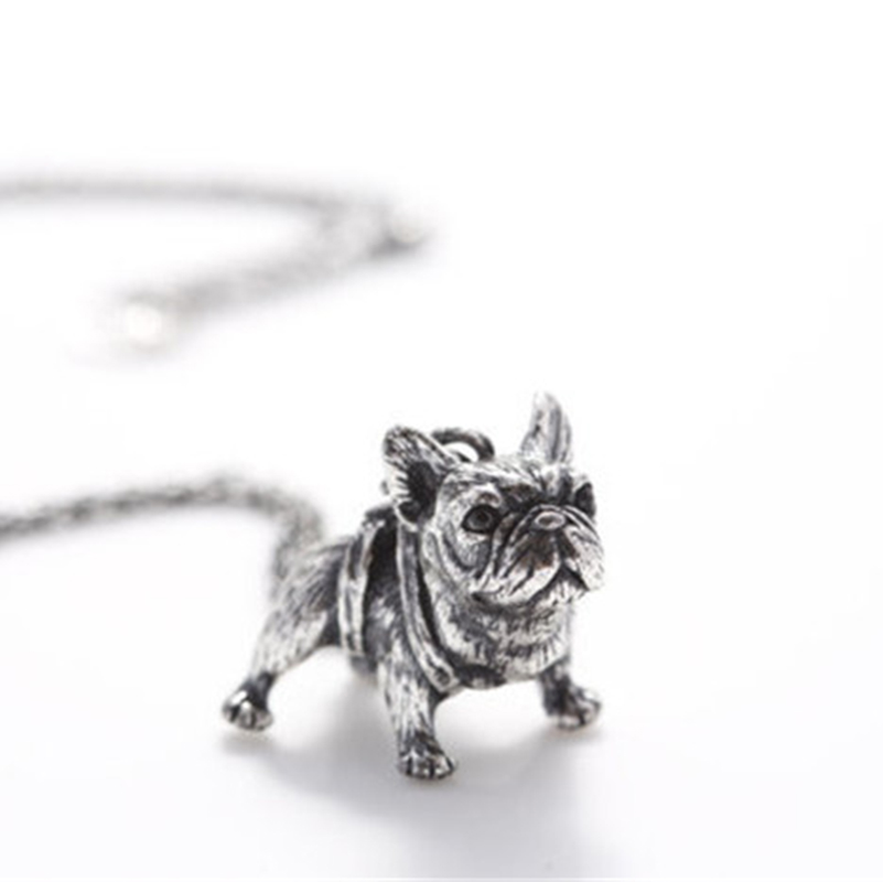 silverantiquelongchainfrenchbulldognecklace