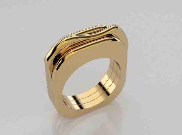3D designed trio of thin rings