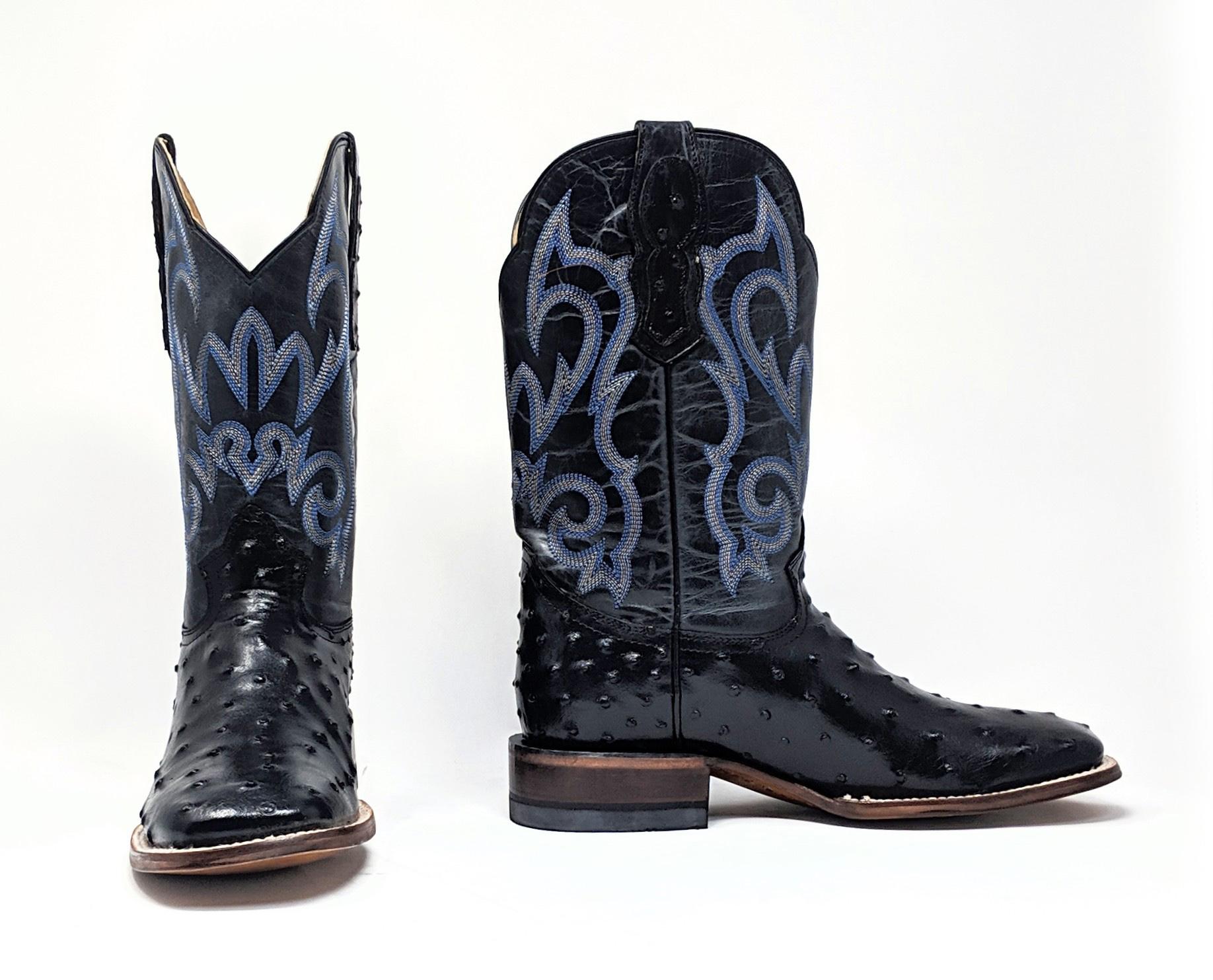 black ostrich boots