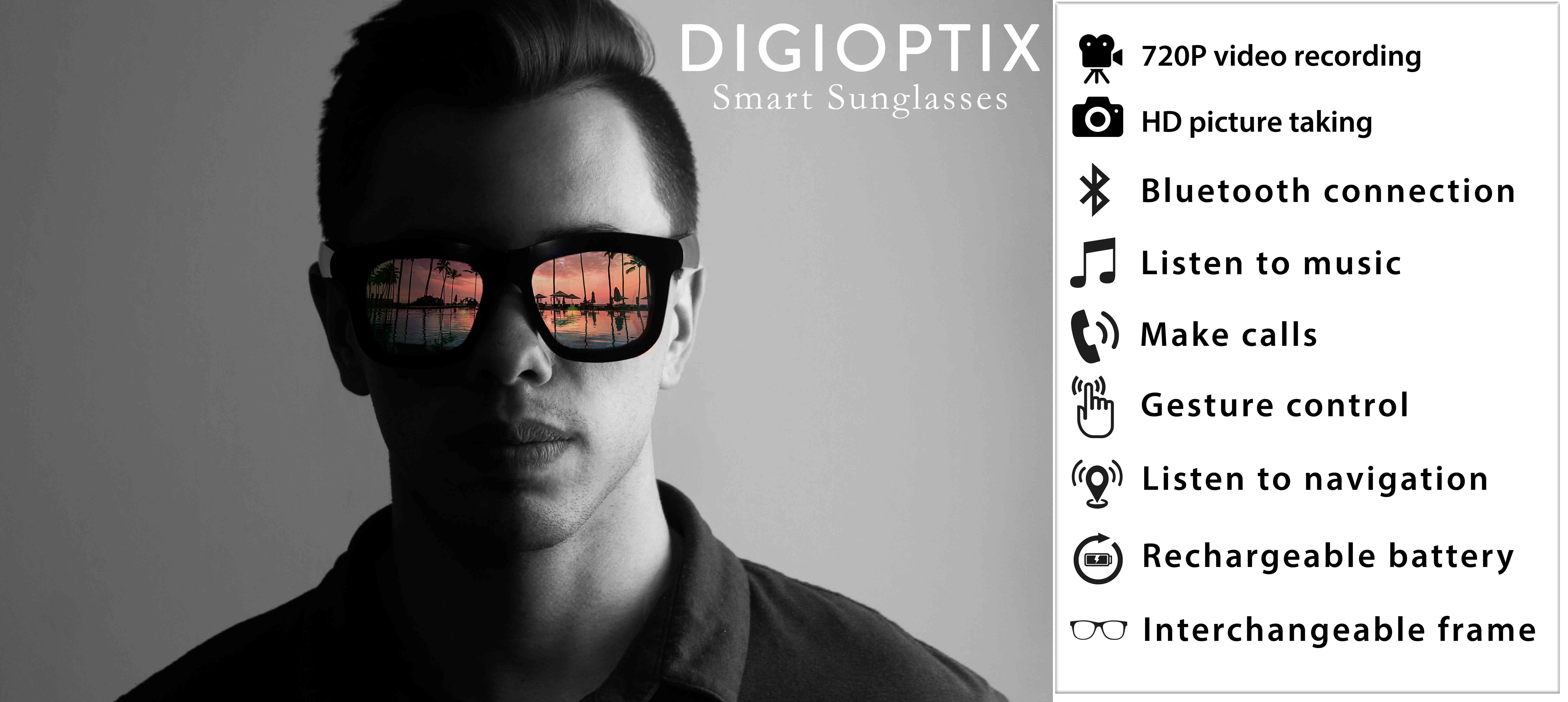 720 P video recording, HD picture Taking, Bluetooth Connection, Listen to music, make calls, gesture control, listen to navigation, rechargeable battery, interchangeable frame. DigiOptix Smart Glasses. Best camera glasses