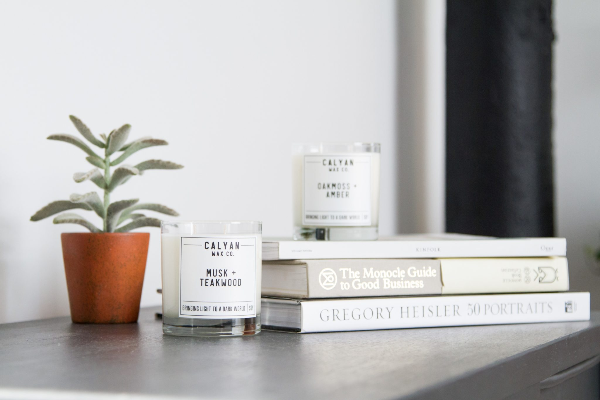 Soy Candles in Glass Tumblers with book and plant