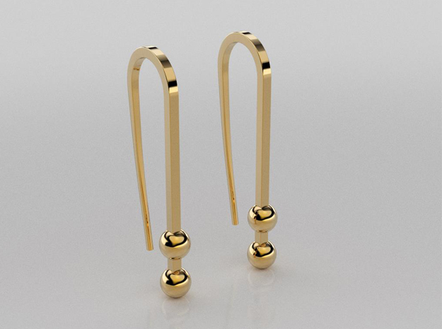 3D designed large earrings with small balls