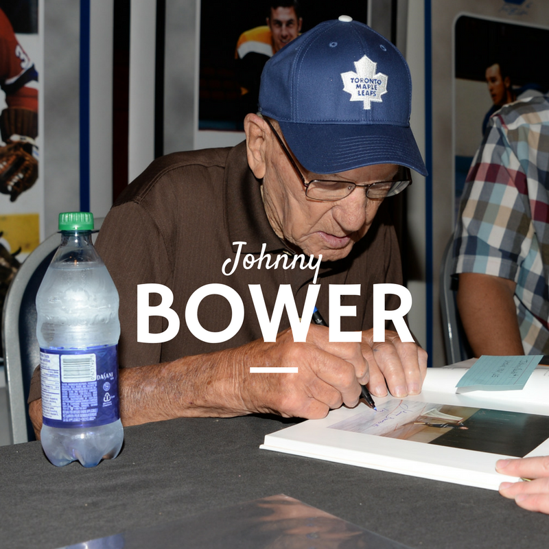 Johnny Bower of the Toronto Maple Leafs signing autographs at our public autograph signing in Toronto at Dave and Busters