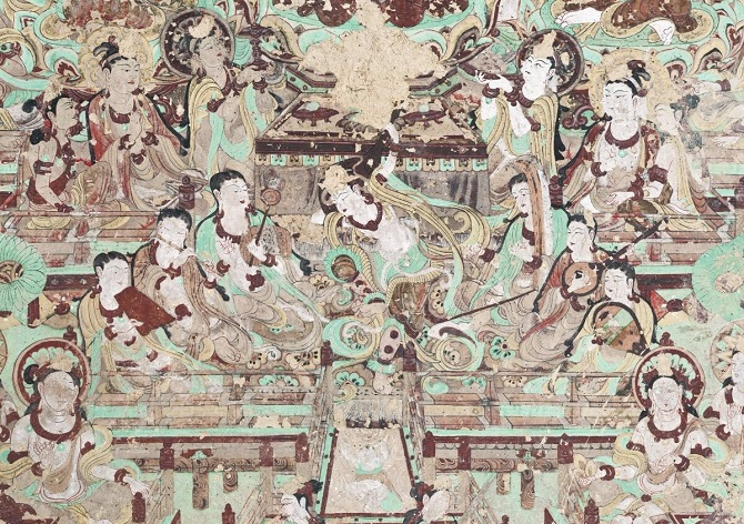 Chinese Buddhist art: Buddha mural in Yulin Grottoes