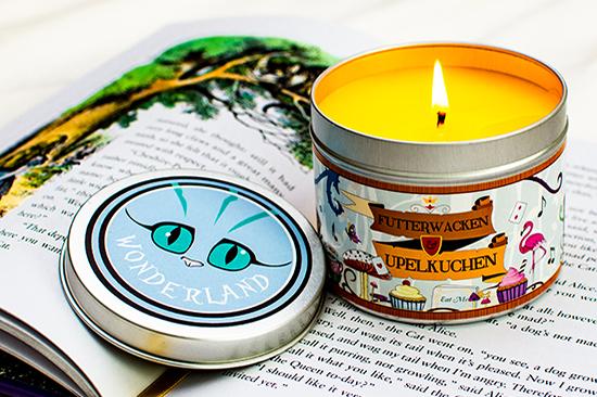 Happy Piranhas Futterwacken and Upelkuchen scented candle.