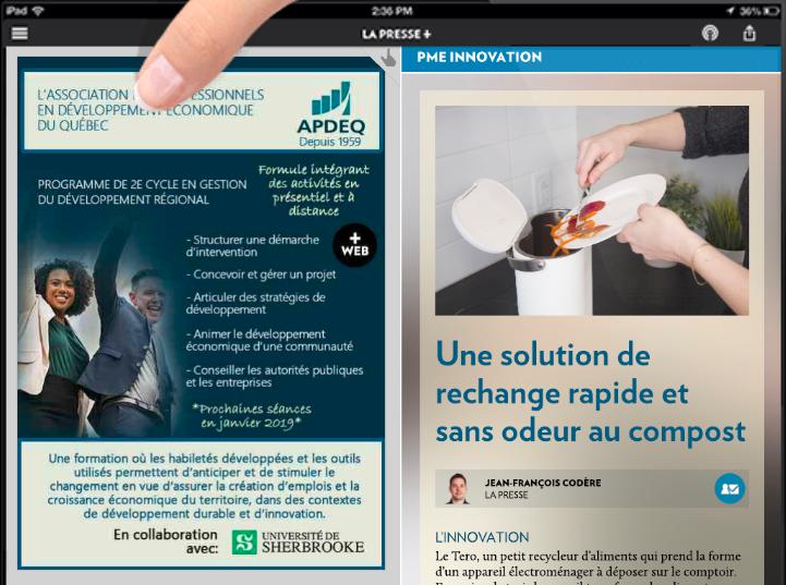 Capture d'écran de l'article sur Tero dans La Presse+