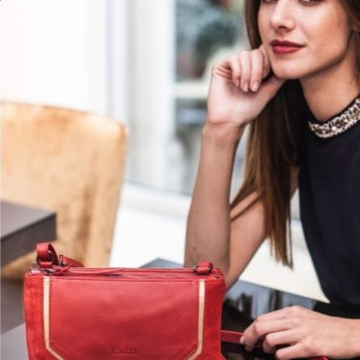 Brunette with a red bag