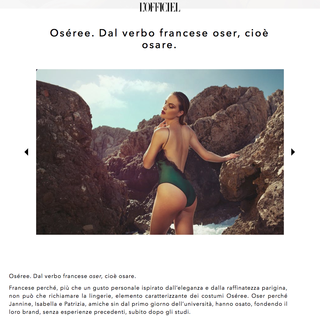 L'Officiel Itaila features Oseree Swimwear