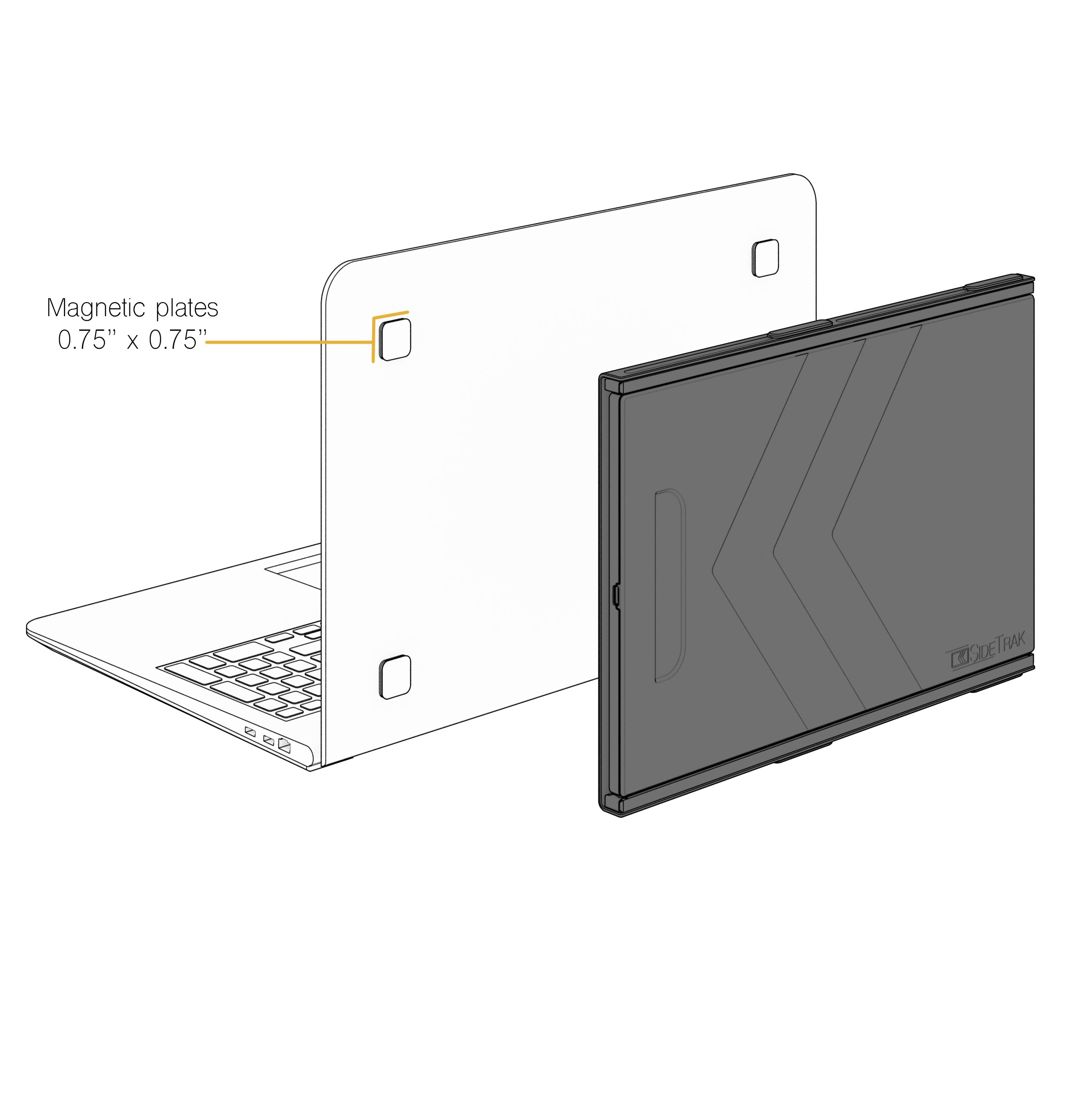 SideTrak portable laptop monitor attaches with device safe magnetic plates