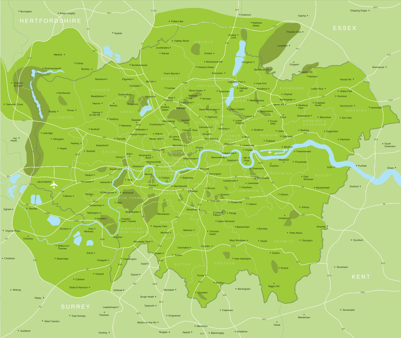 Postcode areas of Greater London where Love Yourself delivers