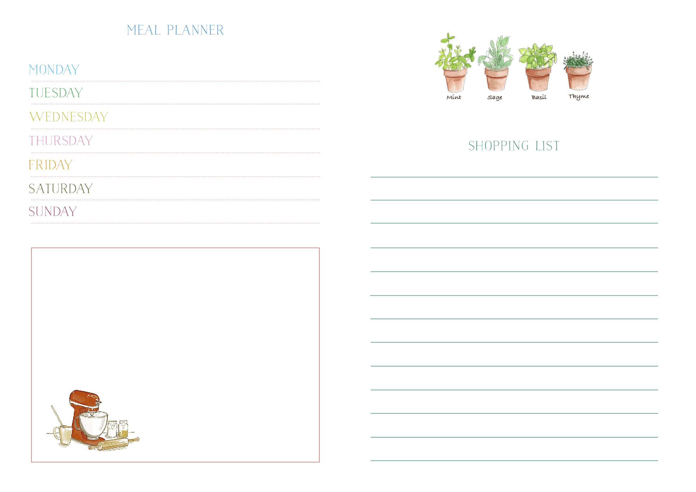 Free Meal Planner and Shopping List printable