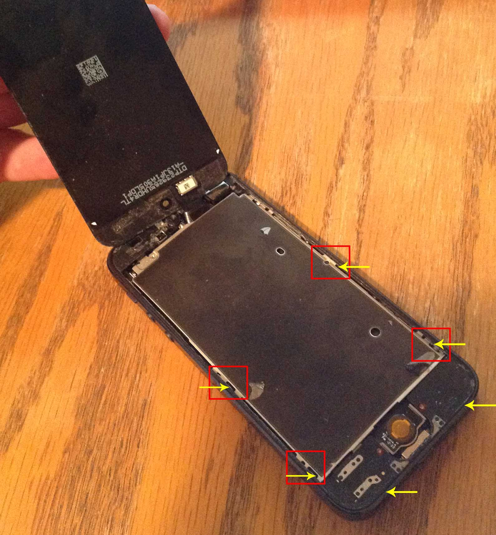 iPhone 5 battery replacement guide - glass separated from the screen assembly.