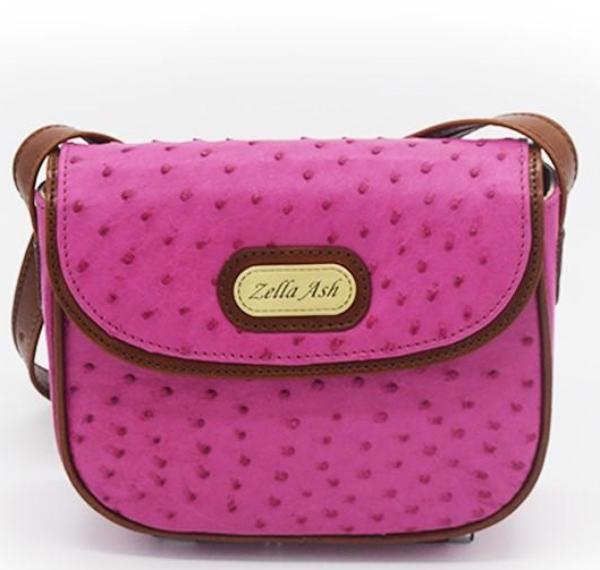 Zella Ash -Christina Pink Ostrich Leather Cross-body Bag