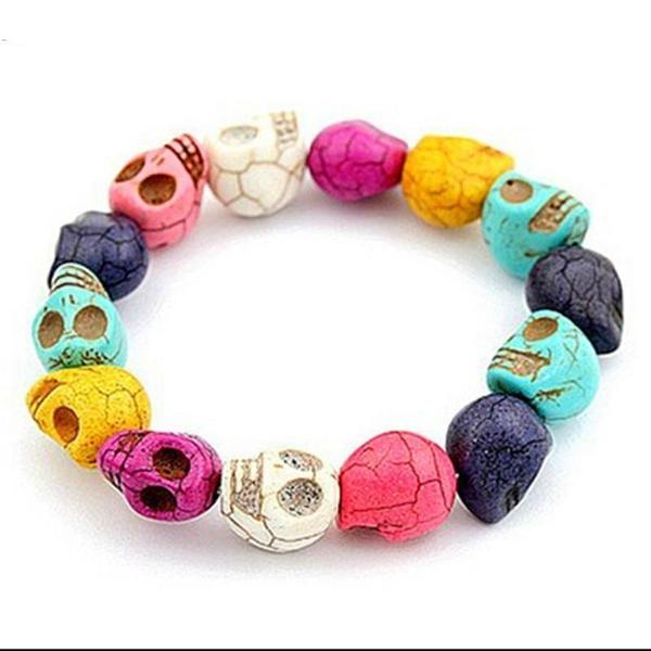 multi-colored skull bracelet