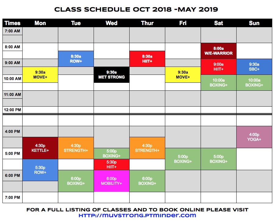 MuvStrong Schedule