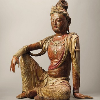 An ancient Chinese Buddha statue: Polychrome Wood Figure of Water Moon Guanyin