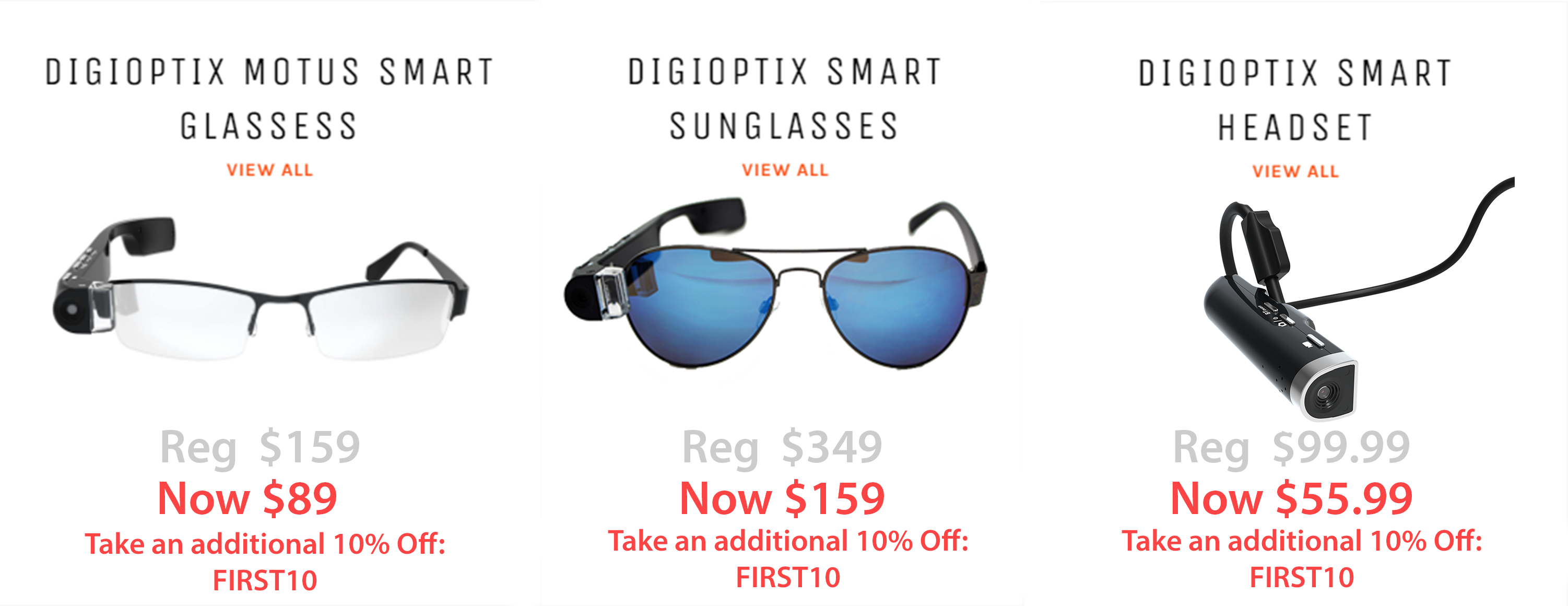 Shop Digioptix now! Best camera glasses and use the coupon code to get an additional 10% OFF