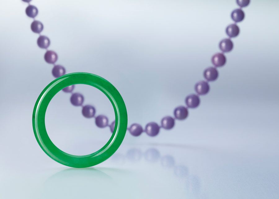 Emerald Green Jade Bangle with Lavender Necklace in the backgound