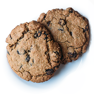 photo of traditional oatmeal raisin cookie