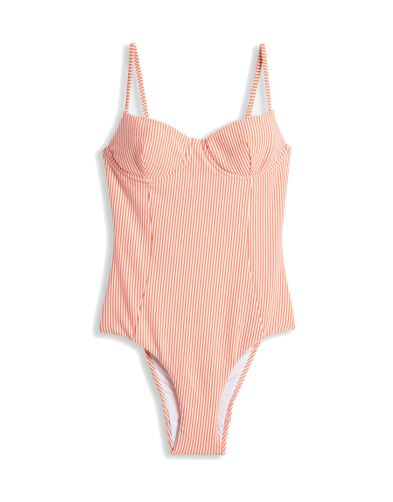 Onia Isabelle One Piece Swimsuit - orange/white stripe