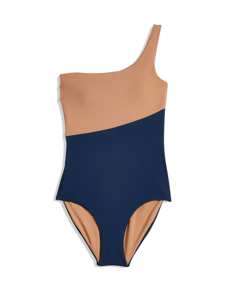 Onia Sienna one shoulder one piece swimsuit in nude and navy